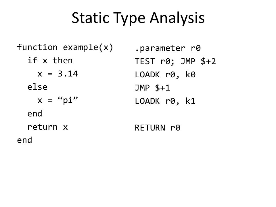 "Static Type Analysis function example(x) if x then x = 3.14 else x = ""pi"" end return x end.parameter r0 TEST r0; JMP $+2 LOADK r0, k0 JMP $+1 LOADK r0"