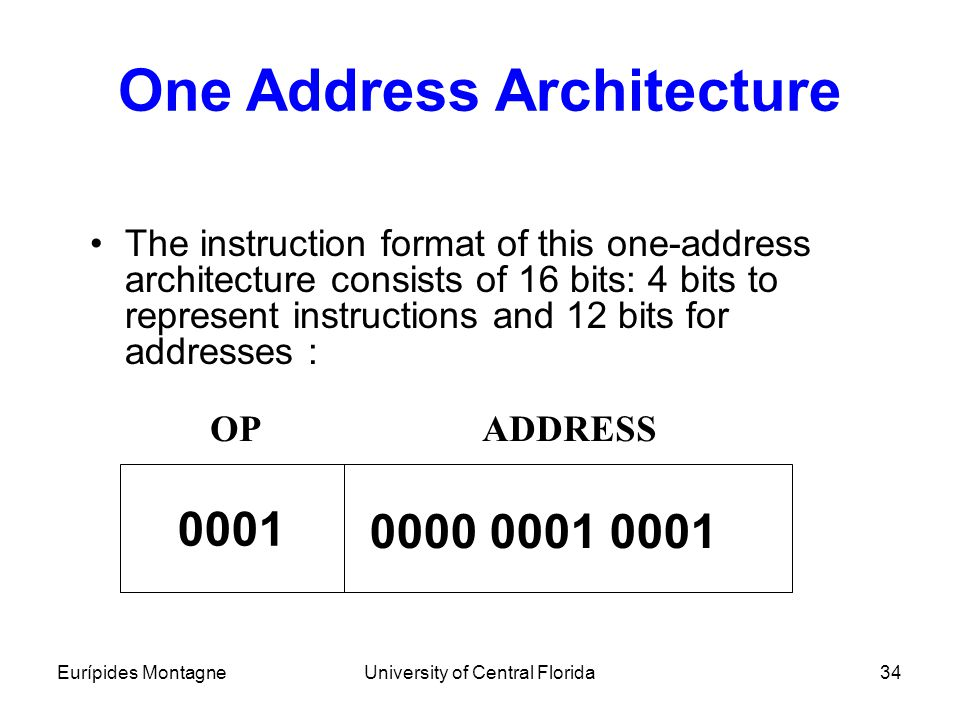 Eurípides MontagneUniversity of Central Florida34 One Address Architecture The instruction format of this one-address architecture consists of 16 bits