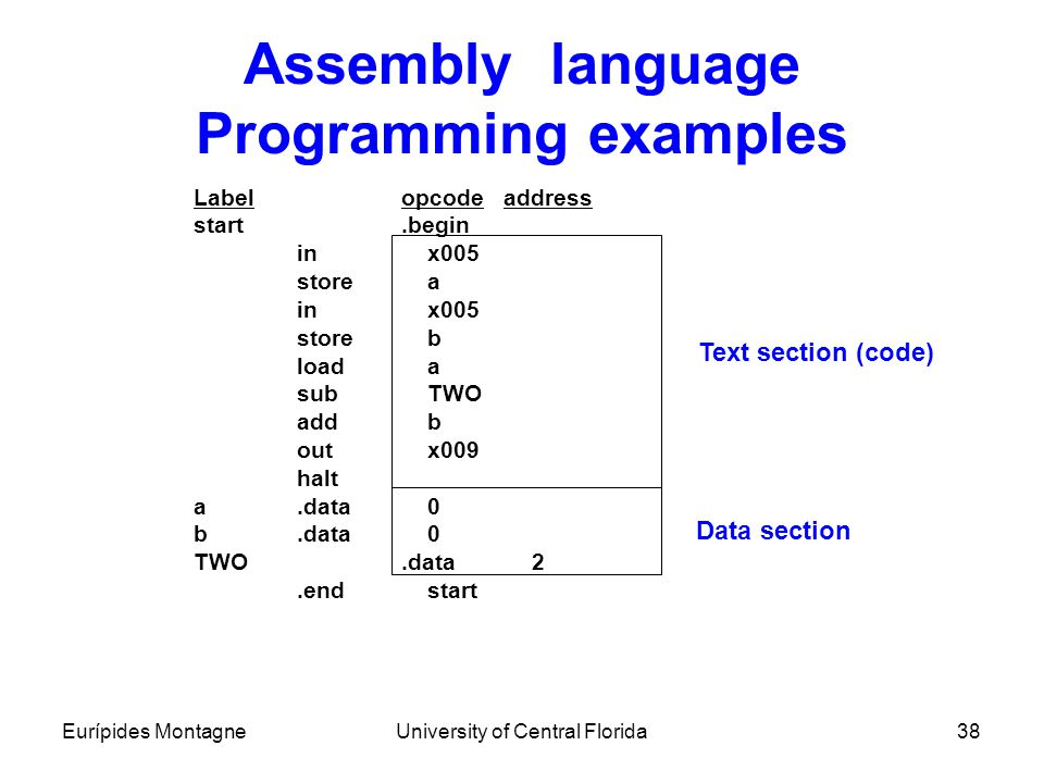 Eurípides MontagneUniversity of Central Florida38 Assembly language Programming examples Labelopcode address start.begin in x005 store a in x005 store