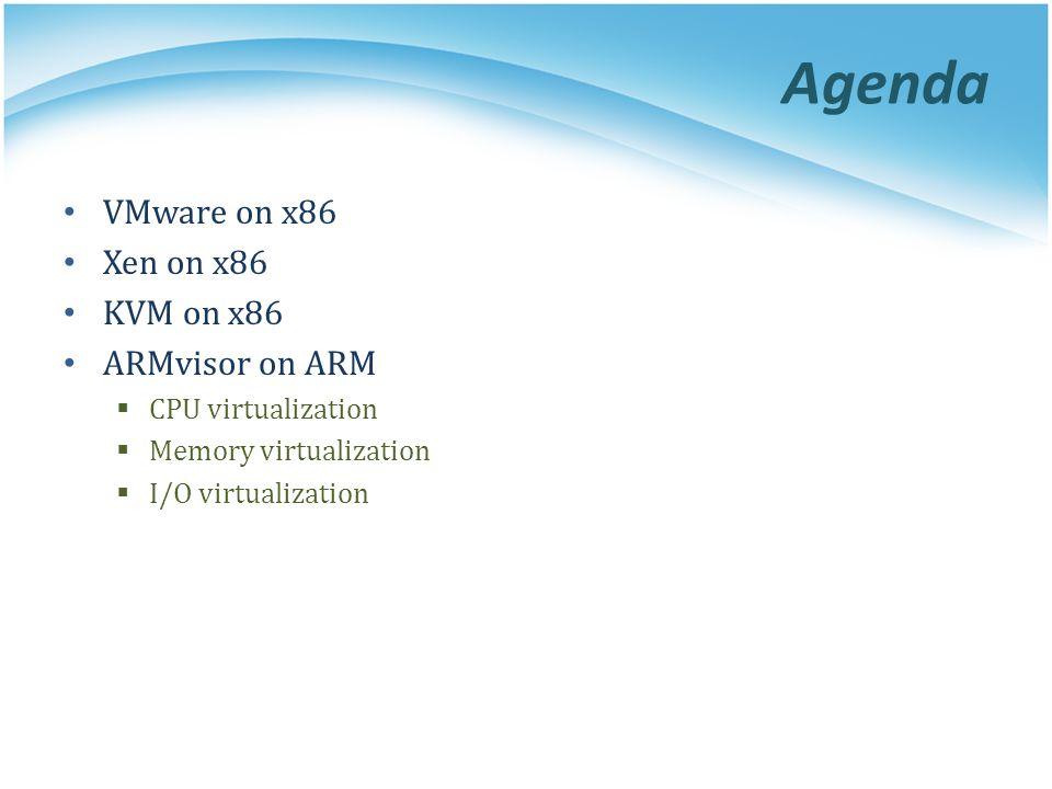 Agenda VMware on x86 Xen on x86 KVM on x86 ARMvisor on ARM  CPU virtualization  Memory virtualization  I/O virtualization