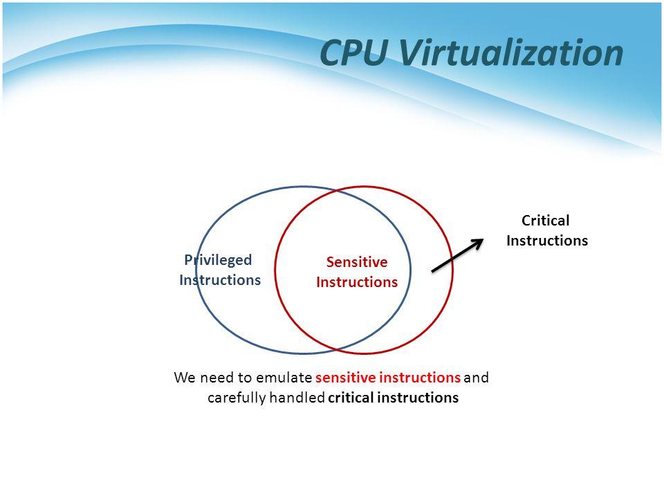 CPU Virtualization Privileged Instructions Sensitive Instructions Critical Instructions We need to emulate sensitive instructions and carefully handled critical instructions