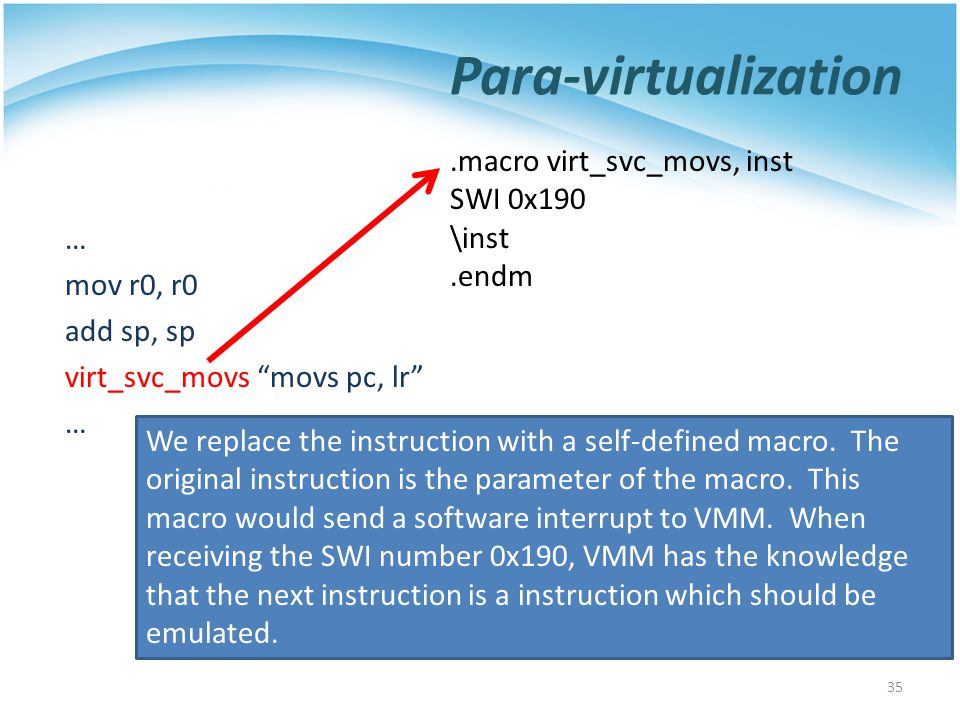 Para-virtualization … mov r0, r0 add sp, sp virt_svc_movs movs pc, lr … 35.macro virt_svc_movs, inst SWI 0x190 \inst.endm We replace the instruction with a self-defined macro.