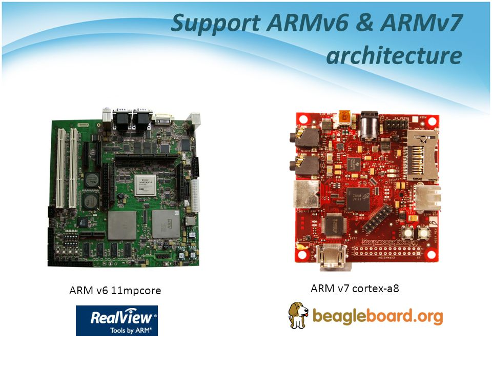 Support ARMv6 & ARMv7 architecture ARM v6 11mpcore ARM v7 cortex-a8