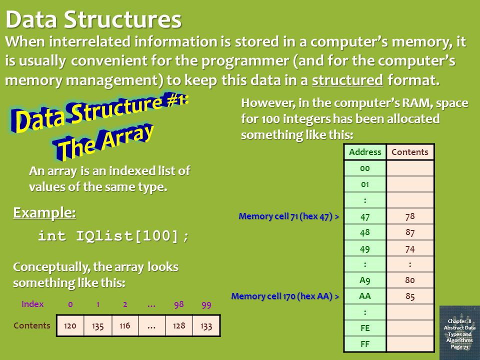 Chapter 9 Abstract Data Types and Algorithms Page 77 Chapter 8 Abstract Data Types and Algorithms Page 72 Calling BinarySearch(phonebook, sought_name) where sought_name is Rubeus Hagrid and phonebook is the list below: NameNameNumberNumber Black, Sirius Chang, Cho Dumbledore, Albus Dursley, Dudley Filch, Argus Fudge, Cornelius Granger, Hermione Hagrid, Rubeus Lockhart, Gilderoy Longbottom, Neville Malfoy, Draco McGonagall, Minerva Pettigrew, Peter Pomfrey, Poppy Snape, Severus Trelawney, Sybill Weasley, Ron Wood, Oliver Black, Sirius Chang, Cho Dumbledore, Albus Dursley, Dudley Filch, Argus Fudge, Cornelius Granger, Hermione Hagrid, Rubeus Lockhart, Gilderoy Longbottom, Neville Malfoy, Draco McGonagall, Minerva Pettigrew, Peter Pomfrey, Poppy Snape, Severus Trelawney, Sybill Weasley, Ron Wood, Oliver 555-7458555-0131555-3589555-1119555-3783555-9927555-2728555-1317555-1201555-7936555-7174555-1659555-2941555-1503555-8847555-6296555-5165555-6793555-7458555-0131555-3589555-1119555-3783555-9927555-2728555-1317555-1201555-7936555-7174555-1659555-2941555-1503555-8847555-6296555-5165555-6793 test_name is Gilderoy Lockhart, so iterate again test_name is Rubeus Hagrid, so return 555-1317 NameNameNumberNumber Black, Sirius Chang, Cho Dumbledore, Albus Dursley, Dudley Filch, Argus Fudge, Cornelius Granger, Hermione Hagrid, Rubeus Lockhart, Gilderoy Longbottom, Neville Malfoy, Draco McGonagall, Minerva Pettigrew, Peter Pomfrey, Poppy Snape, Severus Trelawney, Sybill Weasley, Ron Wood, Oliver Black, Sirius Chang, Cho Dumbledore, Albus Dursley, Dudley Filch, Argus Fudge, Cornelius Granger, Hermione Hagrid, Rubeus Lockhart, Gilderoy Longbottom, Neville Malfoy, Draco McGonagall, Minerva Pettigrew, Peter Pomfrey, Poppy Snape, Severus Trelawney, Sybill Weasley, Ron Wood, Oliver 555-7458555-0131555-3589555-1119555-3783555-9927555-2728555-1317555-1201555-7936555-7174555-1659555-2941555-1503555-8847555-6296555-5165555-6793555-7458555-0131555-3589555-1119555-3783555-9927555-2728555-1317555-1201555-7936555-7174555-1659555-2941555-1503555-8847555-6296555-5165555-6793 NameNameNumberNumber Black, Sirius Chang, Cho Dumbledore, Albus Dursley, Dudley Filch, Argus Fudge, Cornelius Granger, Hermione Hagrid, Rubeus Lockhart, Gilderoy Longbottom, Neville Malfoy, Draco McGonagall, Minerva Pettigrew, Peter Pomfrey, Poppy Snape, Severus Trelawney, Sybill Weasley, Ron Wood, Oliver Black, Sirius Chang, Cho Dumbledore, Albus Dursley, Dudley Filch, Argus Fudge, Cornelius Granger, Hermione Hagrid, Rubeus Lockhart, Gilderoy Longbottom, Neville Malfoy, Draco McGonagall, Minerva Pettigrew, Peter Pomfrey, Poppy Snape, Severus Trelawney, Sybill Weasley, Ron Wood, Oliver 555-7458555-0131555-3589555-1119555-3783555-9927555-2728555-1317555-1201555-7936555-7174555-1659555-2941555-1503555-8847555-6296555-5165555-6793555-7458555-0131555-3589555-1119555-3783555-9927555-2728555-1317555-1201555-7936555-7174555-1659555-2941555-1503555-8847555-6296555-5165555-6793 test_name is Dudley Dursley, so iterate again NameNameNumberNumber Black, Sirius Chang, Cho Dumbledore, Albus Dursley, Dudley Filch, Argus Fudge, Cornelius Granger, Hermione Hagrid, Rubeus Lockhart, Gilderoy Longbottom, Neville Malfoy, Draco McGonagall, Minerva Pettigrew, Peter Pomfrey, Poppy Snape, Severus Trelawney, Sybill Weasley, Ron Wood, Oliver Black, Sirius Chang, Cho Dumbledore, Albus Dursley, Dudley Filch, Argus Fudge, Cornelius Granger, Hermione Hagrid, Rubeus Lockhart, Gilderoy Longbottom, Neville Malfoy, Draco McGonagall, Minerva Pettigrew, Peter Pomfrey, Poppy Snape, Severus Trelawney, Sybill Weasley, Ron Wood, Oliver 555-7458555-0131555-3589555-1119555-3783555-9927555-2728555-1317555-1201555-7936555-7174555-1659555-2941555-1503555-8847555-6296555-5165555-6793555-7458555-0131555-3589555-1119555-3783555-9927555-2728555-1317555-1201555-7936555-7174555-1659555-2941555-1503555-8847555-6296555-5165555-6793 NameNameNumberNumber Black, Sirius Chang, Cho Dumbledore, Albus Dursley, Dudley Filch, Argus Fudge, Cornelius Granger, Hermione Hagrid, Rubeus Lockhart, Gilderoy Longbottom, Neville Malfoy, Draco McGonagall, Minerva Pettigrew, Peter Pomfrey, Poppy Snape, Severus Trelawney, Sybill Weasley, Ron Wood, Oliver Black, Sirius Chang, Cho Dumbledore, Albus Dursley, Dudley Filch, Argus Fudge, Cornelius Granger, Hermione Hagrid, Rubeus Lockhart, Gilderoy Longbottom, Neville Malfoy, Draco McGonagall, Minerva Pettigrew, Peter Pomfrey, Poppy Snape, Severus Trelawney, Sybill Weasley, Ron Wood, Oliver 555-7458555-0131555-3589555-1119555-3783555-9927555-2728555-1317555-1201555-7936555-7174555-1659555-2941555-1503555-8847555-6296555-5165555-6793555-7458555-0131555-3589555-1119555-3783555-9927555-2728555-1317555-1201555-7936555-7174555-1659555-2941555-1503555-8847555-6296555-5165555-6793 test_name is Cornelius Fudge, so iterate again NameNameNumberNumber Black, Sirius Chang, Cho Dumbledore, Albus Dursley, Dudley Filch, Argus Fudge, Cornelius Granger, Hermione Hagrid, Rubeus Lockhart, Gilderoy Longbottom, Neville Malfoy, Draco McGonagall, Minerva Pettigrew, Peter Pomfrey, Poppy Snape, Severus Trelawney, Sybill Weasley, Ron Wood, Oliver Black, Sirius Chang, Cho Dumbledore, Albus Dursley, Dudley Filch, Argus Fudge, Cornelius Granger, Hermione Hagrid, Rubeus Lockhart, Gilderoy Longbottom, Neville Malfoy, Draco McGonagall, Minerva Pettigrew, Peter Pomfrey, Poppy Snape, Severus Trelawney, Sybill Weasley, Ron Wood, Oliver 555-7458555-0131555-3589555-1119555-3783555-9927555-2728555-1317555-1201555-7936555-7174555-1659555-2941555-1503555-8847555-6296555-5165555-6793555-7458555-0131555-3589555-1119555-3783555-9927555-2728555-1317555-1201555-7936555-7174555-1659555-2941555-1503555-8847555-6296555-5165555-6793 NameNameNumberNumber Black, Sirius Chang, Cho Dumbledore, Albus Dursley, Dudley Filch, Argus Fudge, Cornelius Granger, Hermione Hagrid, Rubeus Lockhart, Gilderoy Longbottom, Neville Malfoy, Draco McGonagall, Minerva Pettigrew, Peter Pomfrey, Poppy Snape, Severus Trelawney, Sybill Weasley, Ron Wood, Oliver Black, Sirius Chang, Cho Dumbledore, Albus Dursley, Dudley Filch, Argus Fudge, Cornelius Granger, Hermione Hagrid, Rubeus Lockhart, Gilderoy Longbottom, Neville Malfoy, Draco McGonagall, Minerva Pettigrew, Peter Pomfrey, Poppy Snape, Severus Trelawney, Sybill Weasley, Ron Wood, Oliver 555-7458555-0131555-3589555-1119555-3783555-9927555-2728555-1317555-1201555-7936555-7174555-1659555-2941555-1503555-8847555-6296555-5165555-6793555-7458555-0131555-3589555-1119555-3783555-9927555-2728555-1317555-1201555-7936555-7174555-1659555-2941555-1503555-8847555-6296555-5165555-6793 test_name is Hermione Granger, so iterate again NameNameNumberNumber Black, Sirius Chang, Cho Dumbledore, Albus Dursley, Dudley Filch, Argus Fudge, Cornelius Granger, Hermione Hagrid, Rubeus Lockhart, Gilderoy Longbottom, Neville Malfoy, Draco McGonagall, Minerva Pettigrew, Peter Pomfrey, Poppy Snape, Severus Trelawney, Sybill Weasley, Ron Wood, Oliver Black, Sirius Chang, Cho Dumbledore, Albus Dursley, Dudley Filch, Argus Fudge, Cornelius Granger, Hermione Hagrid, Rubeus Lockhart, Gilderoy Longbottom, Neville Malfoy, Draco McGonagall, Minerva Pettigrew, Peter Pomfrey, Poppy Snape, Severus Trelawney, Sybill Weasley, Ron Wood, Oliver 555-7458555-0131555-3589555-1119555-3783555-9927555-2728555-1317555-1201555-7936555-7174555-1659555-2941555-1503555-8847555-6296555-5165555-6793555-7458555-0131555-3589555-1119555-3783555-9927555-2728555-1317555-1201555-7936555-7174555-1659555-2941555-1503555-8847555-6296555-5165555-6793 NameNameNumberNumber Black, Sirius Chang, Cho Dumbledore, Albus Dursley, Dudley Filch, Argus Fudge, Cornelius Granger, Hermione Hagrid, Rubeus Lockhart, Gilderoy Longbottom, Neville Malfoy, Draco McGonagall, Minerva Pettigrew, Peter Pomfrey, Poppy Snape, Severus Trelawney, Sybill Weasley, Ron Wood, Oliver Black, Sirius Chang, Cho Dumbledore, Albus Dursley, Dudley Filch, Argus Fudge, Cornelius Granger, Hermione Hagrid, Rubeus Lockhart, Gilderoy Longbottom, Neville Malfoy, Draco McGonagall, Minerva Pettigrew, Peter Pomfrey, Poppy Snape, Severus Trelawney, Sybill Weasley, Ron Wood, Oliver 555-7458555-0131555-3589555-1119555-3783555-9927555-2728555-1317555-1201555-7936555-7174555-1659555-2941555-1503555-8847555-6296555-5165555-6793555-7458555-0131555-3589555-1119555-3783555-9927555-2728555-1317555-1201555-7936555-7174555-1659555-2941555-1503555-8847555-6296555-5165555-6793 NameNameNumberNumber Black, Sirius Chang, Cho Dumbledore, Albus Dursley, Dudley Filch, Argus Fudge, Cornelius Granger, Hermione Hagrid, Rubeus Lockhart, Gilderoy Longbottom, Neville Malfoy, Draco McGonagall, Minerva Pettigrew, Peter Pomfrey, Poppy Snape, Severus Trelawney, Sybill Weasley, Ron Wood, Oliver Black, Sirius Chang, Cho Dumbledore, Albus Dursley, Dudley Filch, Argus Fudge, Cornelius Granger, Hermione Hagrid, Rubeus Lockhart, Gilderoy Longbottom, Neville Malfoy, Draco McGonagall, Minerva Pettigrew, Peter Pomfrey, Poppy Snape, Severus Trelawney, Sybill Weasley, Ron Wood, Oliver 555-7458555-0131555-3589555-1119555-3783555-9927555-2728555-1317555-1201555-7936555-7174555-1659555-2941555-1503555-8847555-6296555-5165555-6793555-7458555-0131555-3589555-1119555-3783555-9927555-2728555-1317555-1201555-7936555-7174555-1659555-2941555-1503555-8847555-6296555-5165555-6793