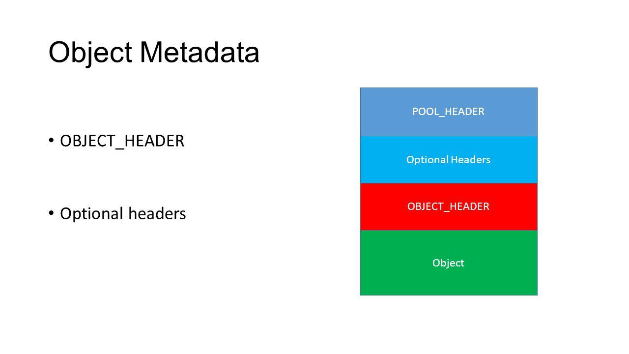 Object Metadata OBJECT_HEADER Optional headers POOL_HEADER Optional Headers OBJECT_HEADER Object