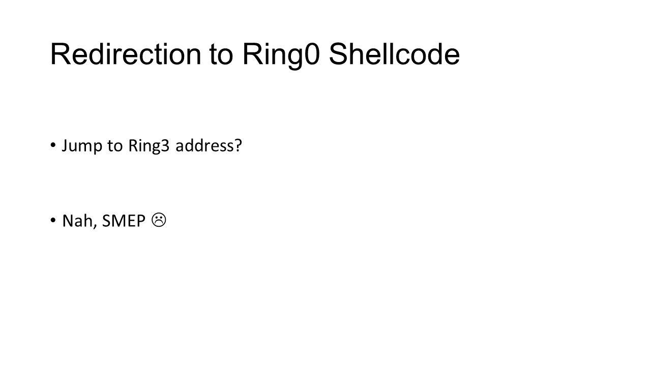 Redirection to Ring0 Shellcode Jump to Ring3 address? Nah, SMEP 