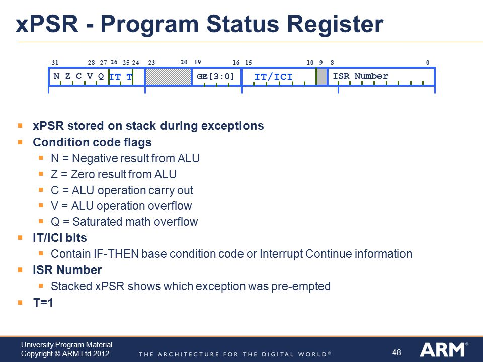 48 University Program Material Copyright © ARM Ltd 2012 xPSR - Program Status Register  xPSR stored on stack during exceptions  Condition code flags