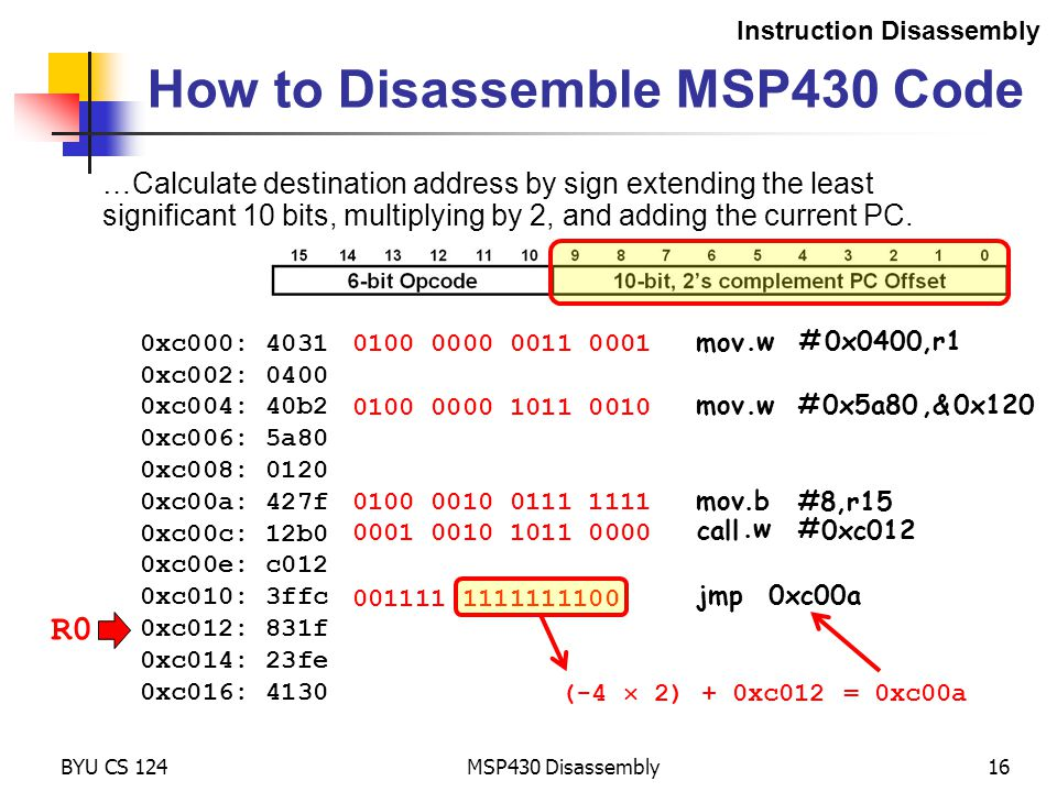 R0 MSP430 Disassembly16 How to Disassemble MSP430 Code Instruction Disassembly 0xc000: 4031 0xc002: 0400 0xc004: 40b2 0xc006: 5a80 0xc008: 0120 0xc00a: 427f 0xc00c: 12b0 0xc00e: c012 0xc010: 3ffc 0xc012: 831f 0xc014: 23fe 0xc016: 4130 0100 0000 0011 0001 BYU CS 124 0100 0000 1011 0010 0100 0010 0111 1111 001111 1111111100 …Calculate destination address by sign extending the least significant 10 bits, multiplying by 2, and adding the current PC.