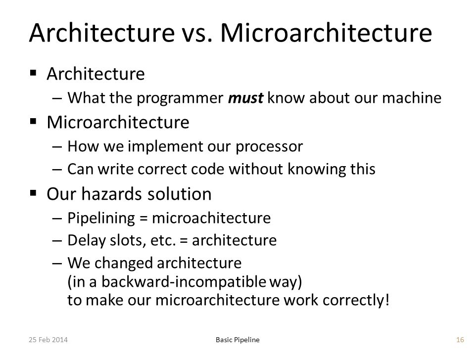 Architecture vs. Microarchitecture  Architecture – What the programmer must know about our machine  Microarchitecture – How we implement our process