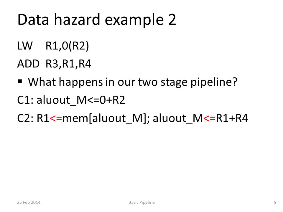 Data hazard example 2 LW R1,0(R2) ADDR3,R1,R4  What happens in our two stage pipeline? C1: aluout_M<=0+R2 C2: R1<=mem[aluout_M]; aluout_M<=R1+R4 25 F