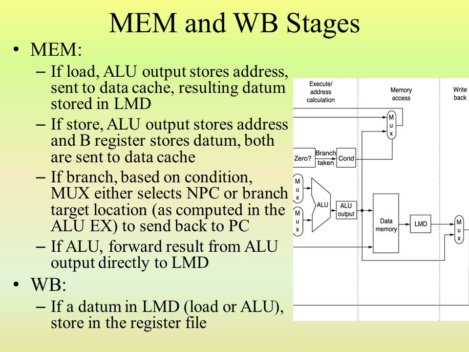 MEM and WB Stages MEM: – If load, ALU output stores address, sent to data cache, resulting datum stored in LMD – If store, ALU output stores address a
