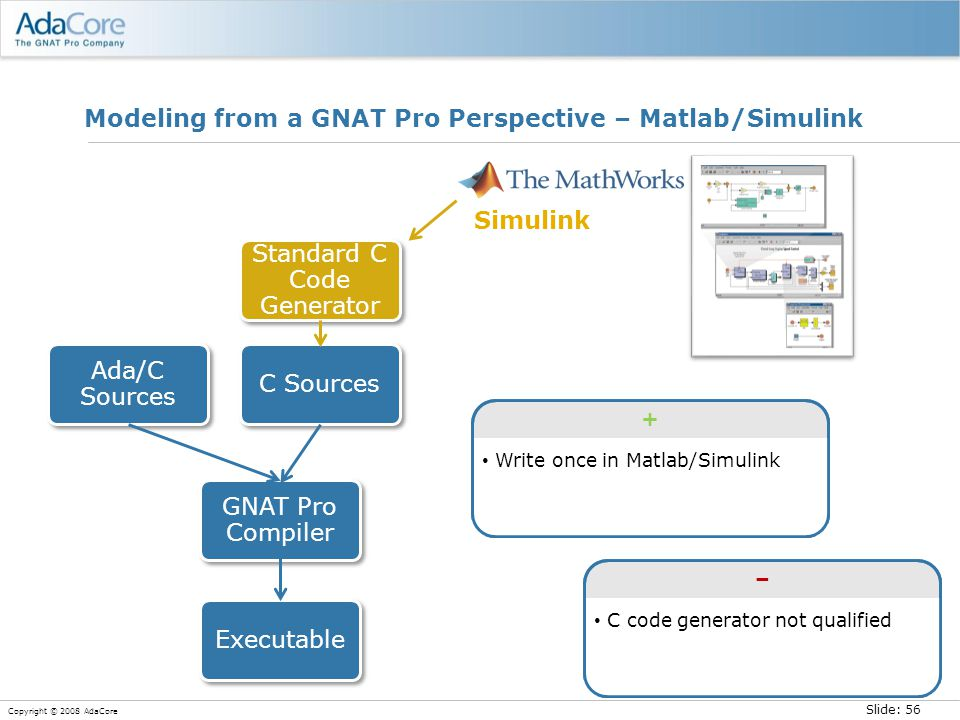 Slide: 56 Copyright © 2008 AdaCore Modeling from a GNAT Pro Perspective – Matlab/Simulink Simulink Write once in Matlab/Simulink + C code generator not qualified –