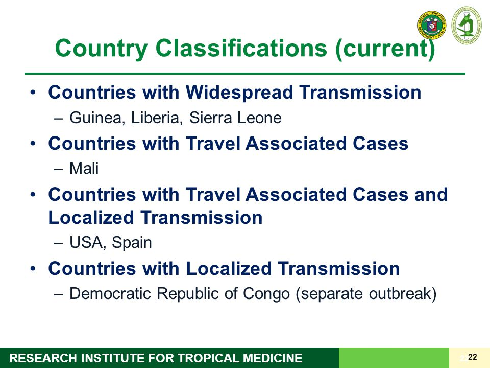 22 RESEARCH INSTITUTE FOR TROPICAL MEDICINE Country Classifications (current) Countries with Widespread Transmission –Guinea, Liberia, Sierra Leone Co