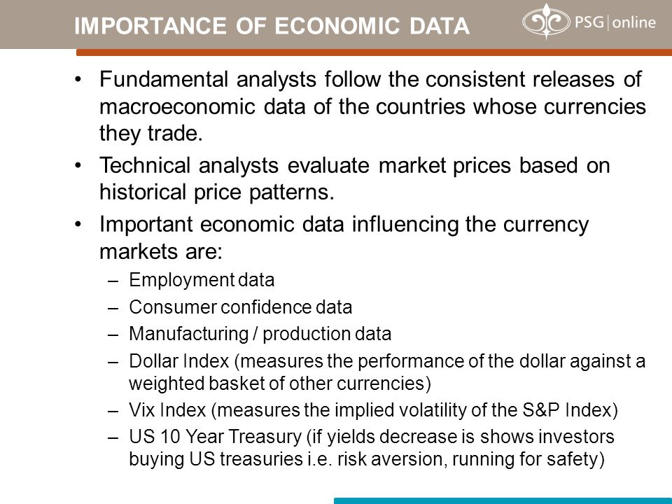 Fundamental analysts follow the consistent releases of macroeconomic data of the countries whose currencies they trade.