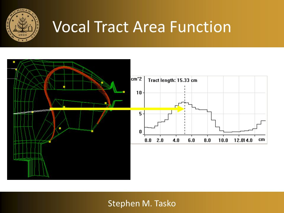 Stephen M. Tasko Area function of a uniform tube Area function dictates the frequency response curve for that tube Area (cm 2 ) Length along tube (cm)