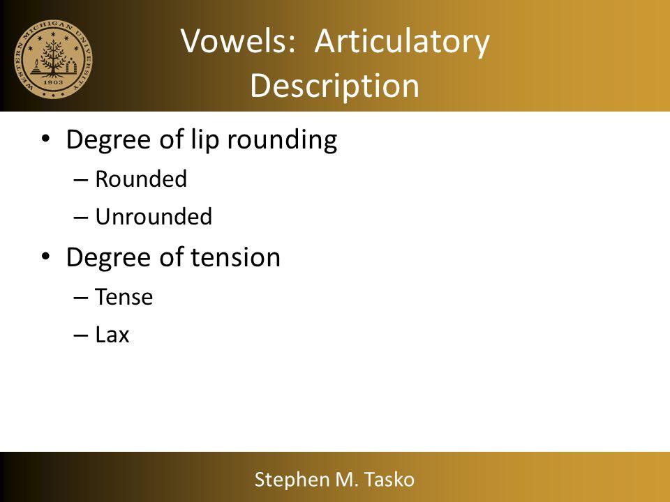 Vowels: Articulatory Description Stephen M. Tasko