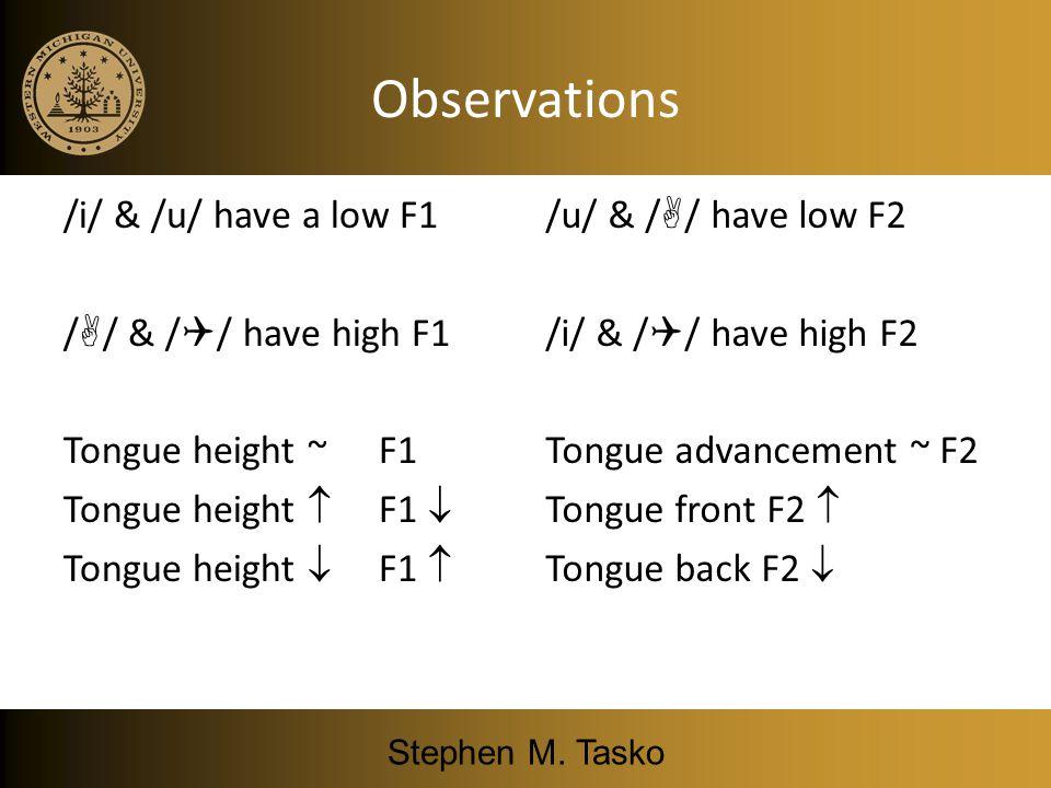 Mid Central vowel F1: 500 Hz F2: 1500 Hz /i/ /u/ //// //// Gain frequency Vowels: Frequency Response Curve Patterns Stephen M. Tasko