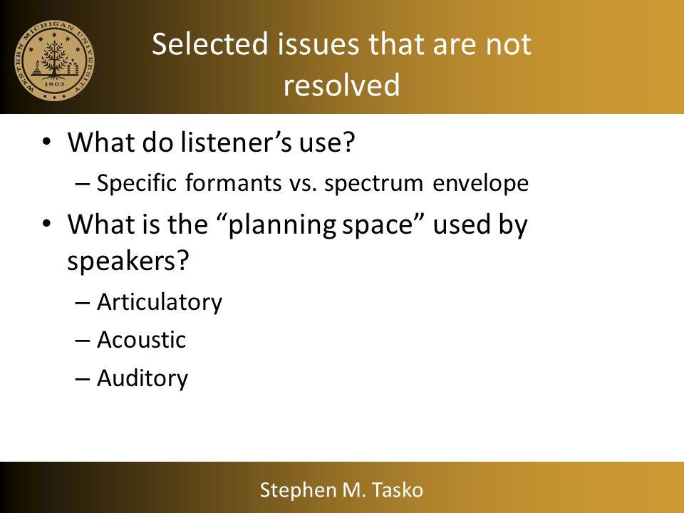 Sinewave Speech Demonstration Sinewave speech examples (from HINT sentence intelligibility test): Stephen M. Tasko
