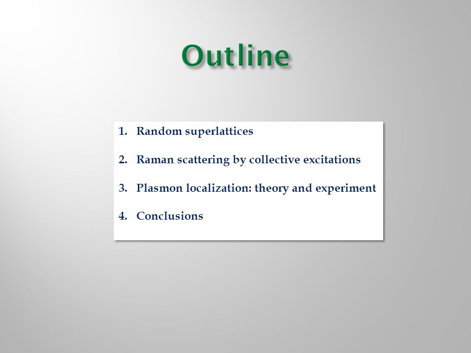 1.Random superlattices 2.Raman scattering by collective excitations 3.Plasmon localization: theory and experiment 4.Conclusions 1.Random superlattices 2.Raman scattering by collective excitations 3.Plasmon localization: theory and experiment 4.Conclusions
