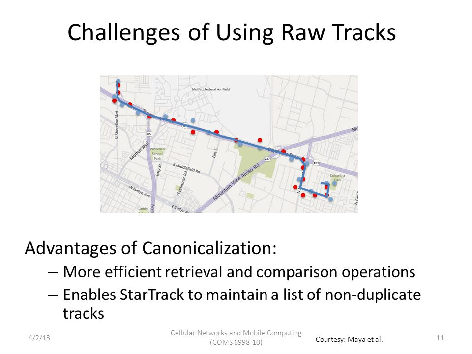 Challenges of Using Raw Tracks Advantages of Canonicalization: – More efficient retrieval and comparison operations – Enables StarTrack to maintain a list of non-duplicate tracks 114/2/13 Cellular Networks and Mobile Computing (COMS 6998-10) Courtesy: Maya et al.