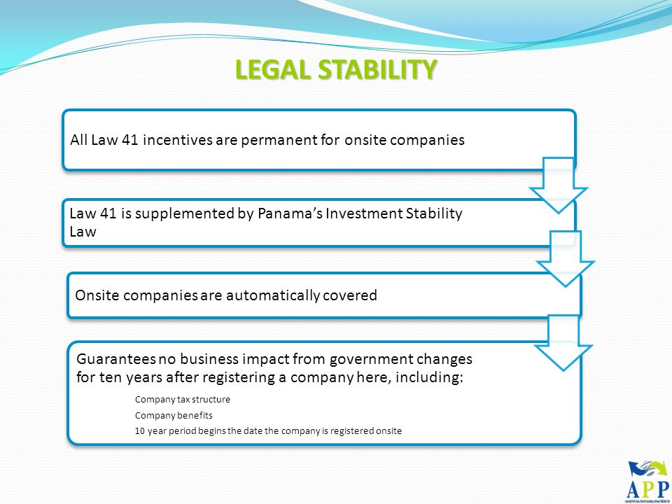 LEGAL STABILITY All Law 41 incentives are permanent for onsite companies Law 41 is supplemented by Panama's Investment Stability Law Onsite companies are automatically covered Guarantees no business impact from government changes for ten years after registering a company here, including: Company tax structure Company benefits 10 year period begins the date the company is registered onsite