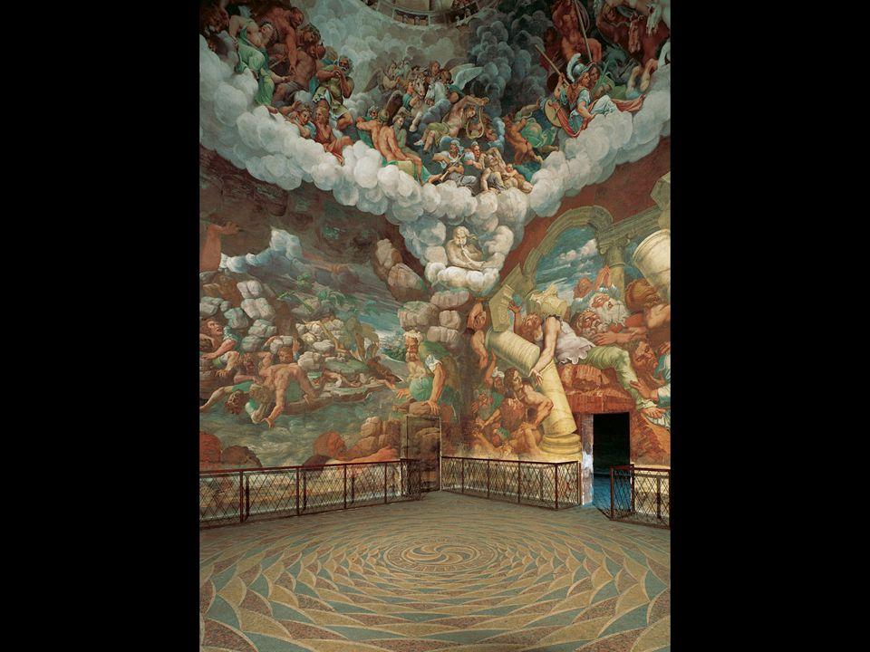 Giulio Romano. Fall of the Giants from Mount Olympus, from the Sala dei Giganti. ca. 1530–32. Palazzo del Te, Mantua