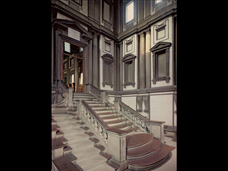 Michelangelo and Bartolommeo Ammanati. Vestibule of the Laurentian Library, Florence. Begun 1523; stairway designed 1558–59