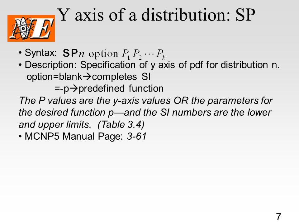 7 Y axis of a distribution: SP Syntax: Description: Specification of y axis of pdf for distribution n.
