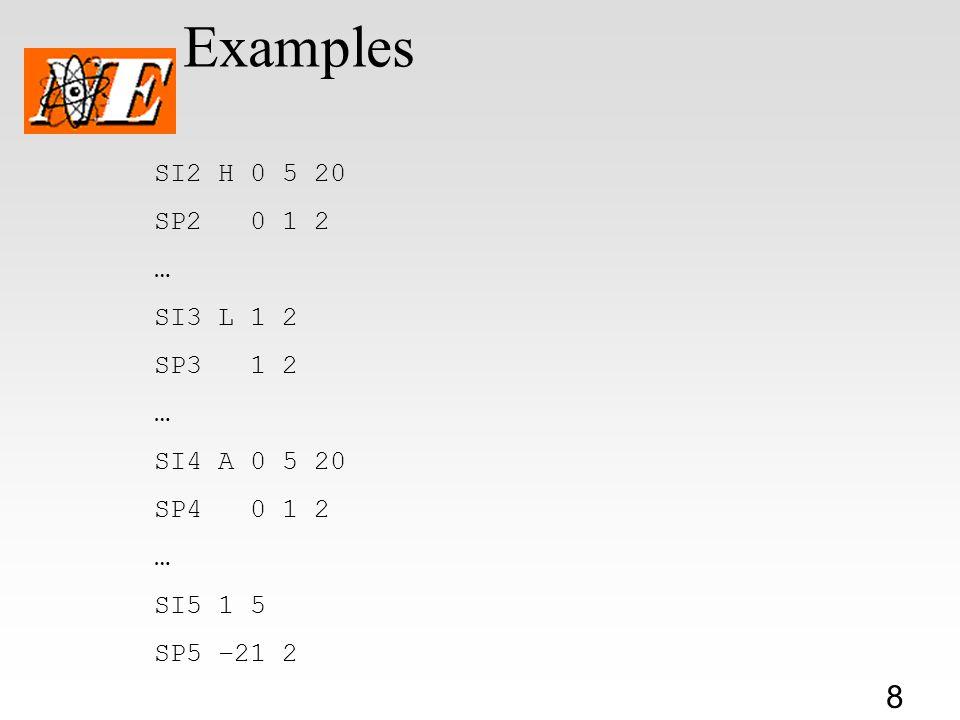 8 Examples SI2 H 0 5 20 SP2 0 1 2 … SI3 L 1 2 SP3 1 2 … SI4 A 0 5 20 SP4 0 1 2 … SI5 1 5 SP5 –21 2
