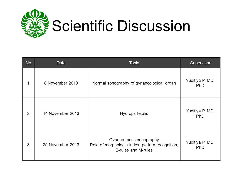 Scientific DiscussionNoDateTopicSupervisor 18 November 2013Normal sonography of gynaecological organ Yuditiya P, MD, PhD 214 November 2013Hydrops feta