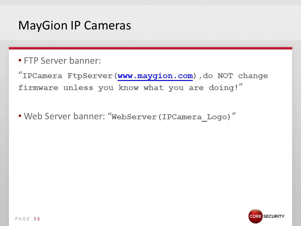 PAGE MayGion IP Cameras FTP Server banner: IPCamera FtpServer(www.maygion.com),do NOT change firmware unless you know what you are doing.
