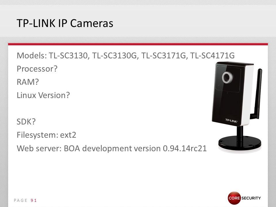 PAGE TP-LINK IP Cameras Models: TL-SC3130, TL-SC3130G, TL-SC3171G, TL-SC4171G Processor.
