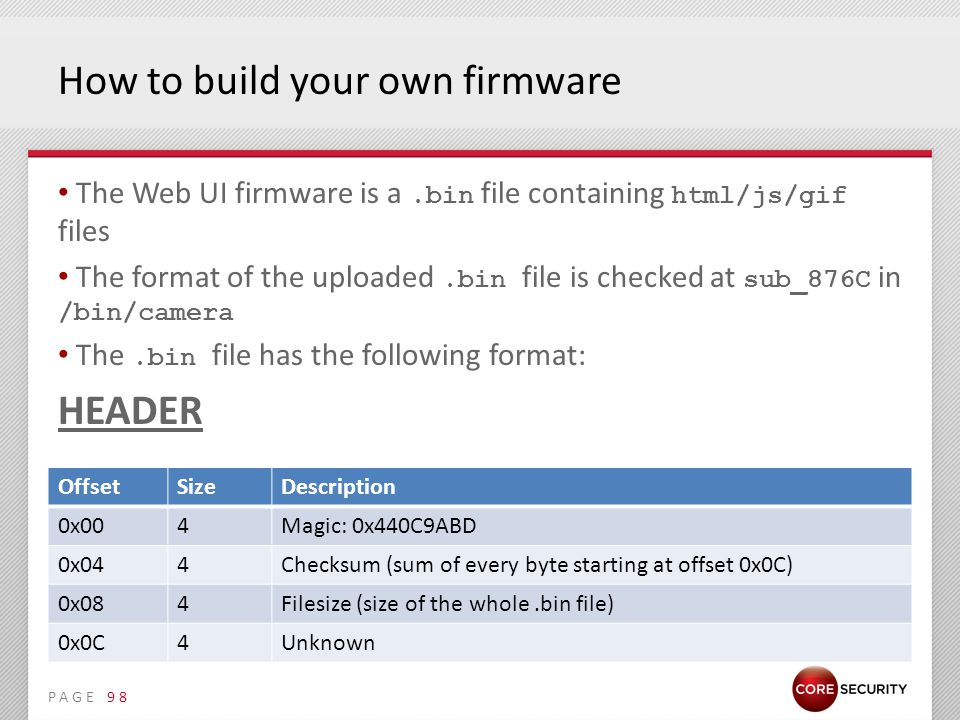 PAGE How to build your own firmware The Web UI firmware is a.bin file containing html/js/gif files The format of the uploaded.bin file is checked at sub_876C in /bin/camera The.bin file has the following format: HEADER 98 OffsetSizeDescription 0x004Magic: 0x440C9ABD 0x044Checksum (sum of every byte starting at offset 0x0C) 0x084Filesize (size of the whole.bin file) 0x0C4Unknown