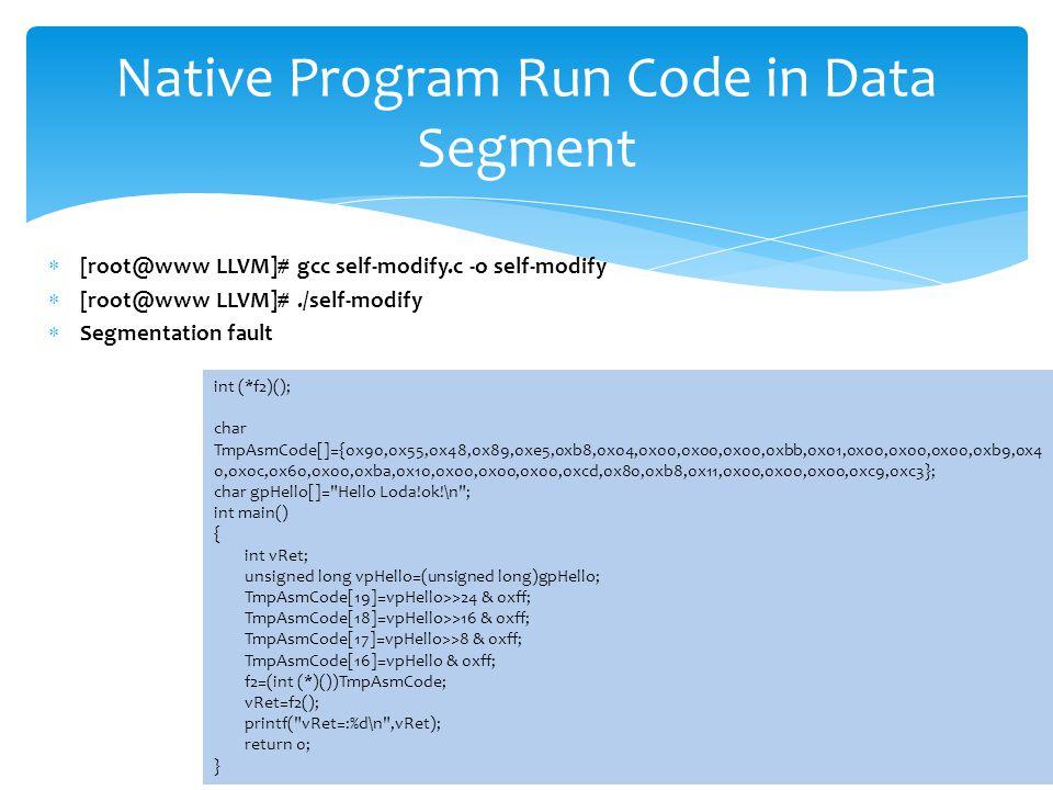 Native Program Run Code in Data Segment int (*f2)(); char TmpAsmCode[]={0x90,0x55,0x48,0x89,0xe5,0xb8,0x04,0x00,0x00,0x00,0xbb,0x01,0x00,0x00,0x00,0xb9,0x4 0,0x0c,0x60,0x00,0xba,0x10,0x00,0x00,0x00,0xcd,0x80,0xb8,0x11,0x00,0x00,0x00,0xc9,0xc3}; char gpHello[]= Hello Loda!ok!\n ; int main() { int vRet; unsigned long vpHello=(unsigned long)gpHello; TmpAsmCode[19]=vpHello>>24 & 0xff; TmpAsmCode[18]=vpHello>>16 & 0xff; TmpAsmCode[17]=vpHello>>8 & 0xff; TmpAsmCode[16]=vpHello & 0xff; f2=(int (*)())TmpAsmCode; vRet=f2(); printf( vRet=:%d\n ,vRet); return 0; }  [root@www LLVM]# gcc self-modify.c -o self-modify  [root@www LLVM]#./self-modify  Segmentation fault