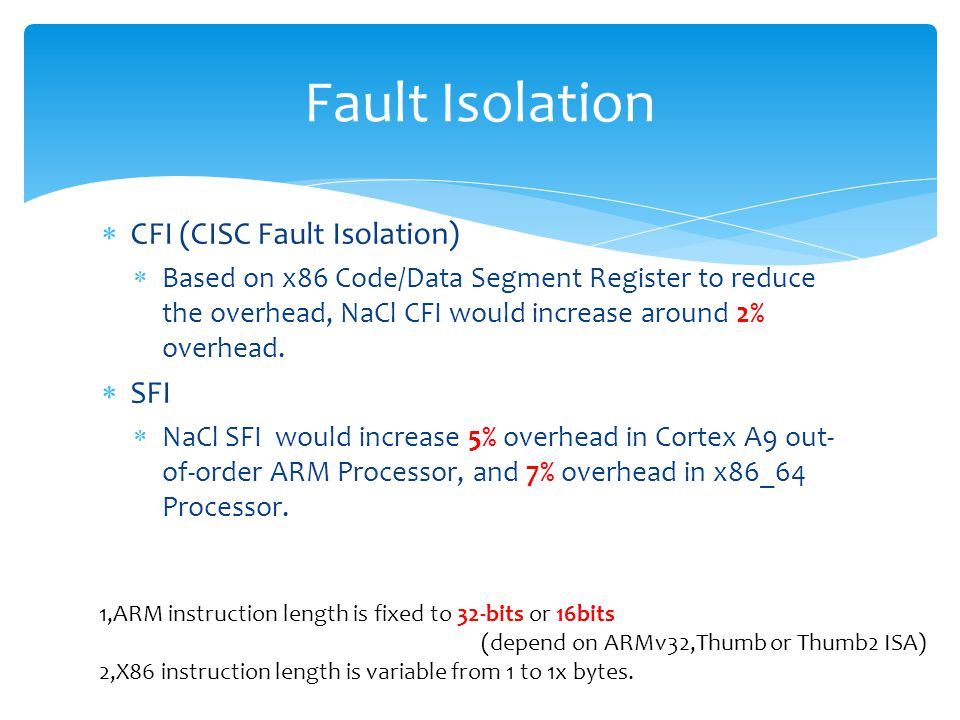  CFI (CISC Fault Isolation)  Based on x86 Code/Data Segment Register to reduce the overhead, NaCl CFI would increase around 2% overhead.