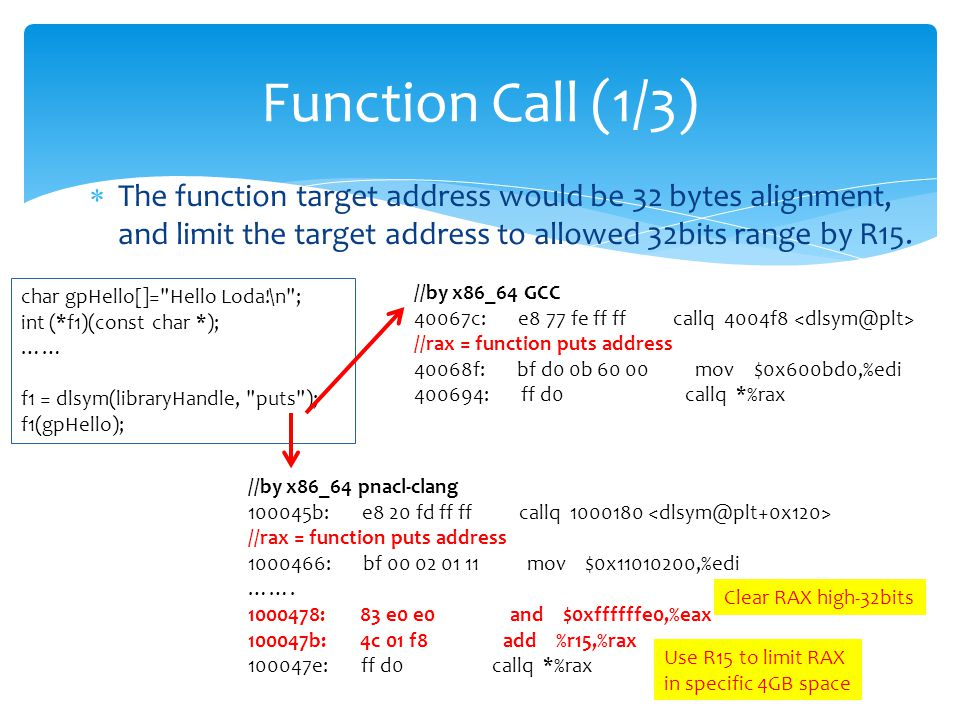  The function target address would be 32 bytes alignment, and limit the target address to allowed 32bits range by R15.