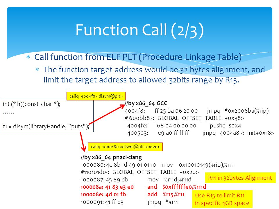  Call function from ELF PLT (Procedure Linkage Table)  The function target address would be 32 bytes alignment, and limit the target address to allowed 32bits range by R15.