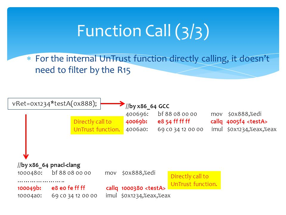  For the internal UnTrust function directly calling, it doesn't need to filter by the R15 Function Call (3/3) //by x86_64 GCC 400696: bf 88 08 00 00 mov $0x888,%edi 40069b: e8 54 ff ff ff callq 4005f4 4006a0: 69 c0 34 12 00 00 imul $0x1234,%eax,%eax //by x86_64 pnacl-clang 1000480: bf 88 08 00 00 mov $0x888,%edi …………………..