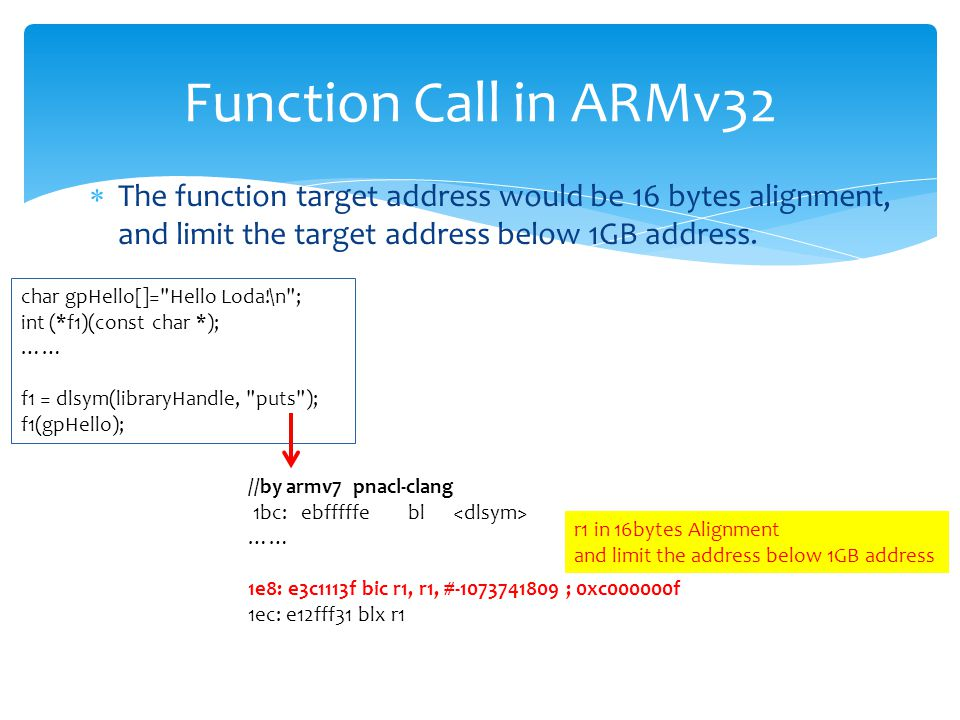  The function target address would be 16 bytes alignment, and limit the target address below 1GB address.