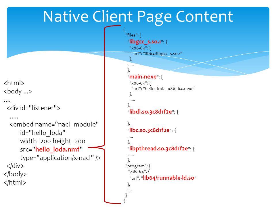 Native Client Page Content.........