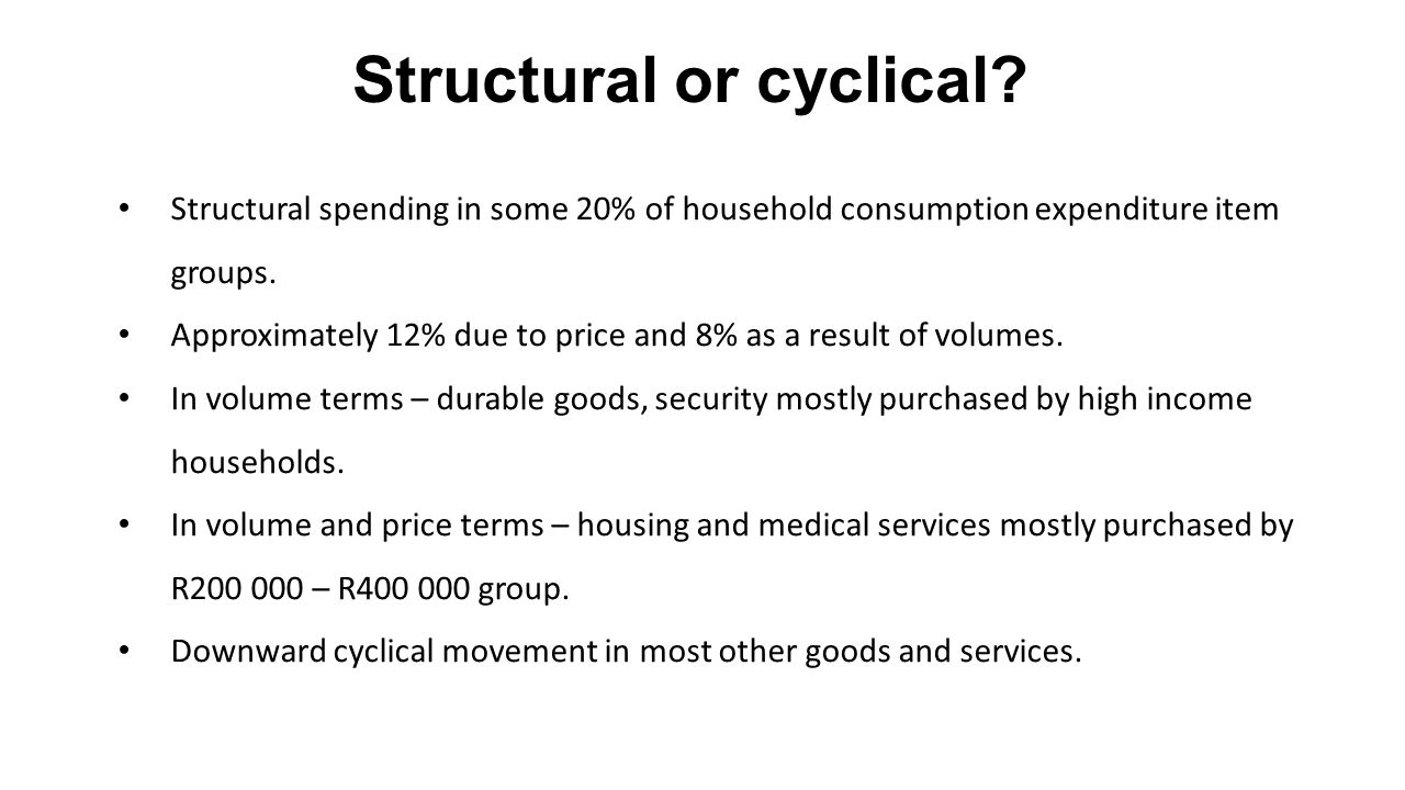 Structural spending in some 20% of household consumption expenditure item groups.