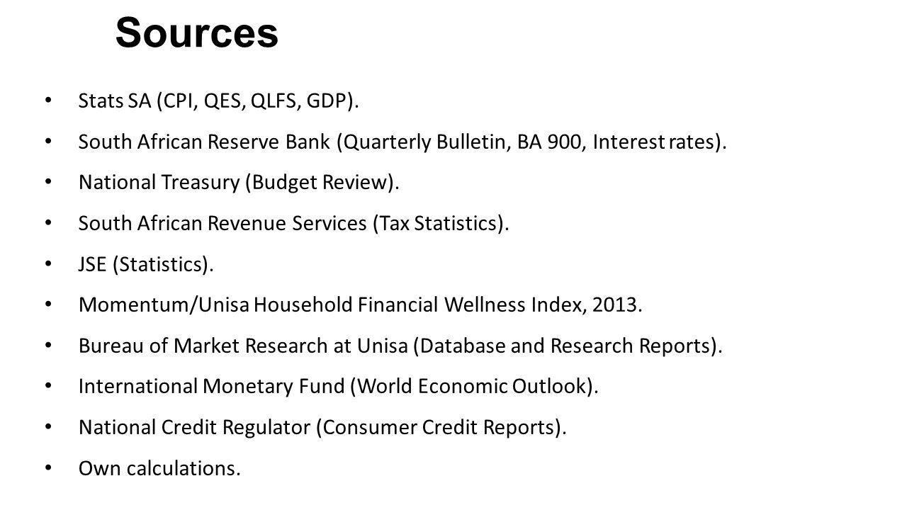 Stats SA (CPI, QES, QLFS, GDP).