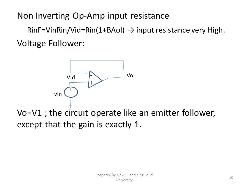 Non Inverting Op-Amp input resistance RinF=VinRin/Vid=Rin(1+BAol) → input resistance very High.