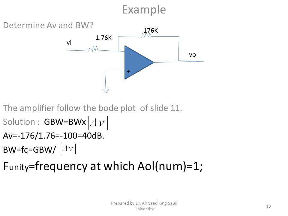 Example Determine Av and BW.The amplifier follow the bode plot of slide 11.