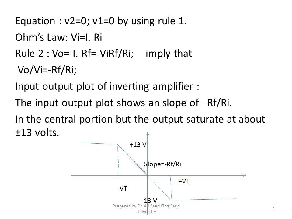 Equation : v2=0; v1=0 by using rule 1.Ohm's Law: Vi=I.