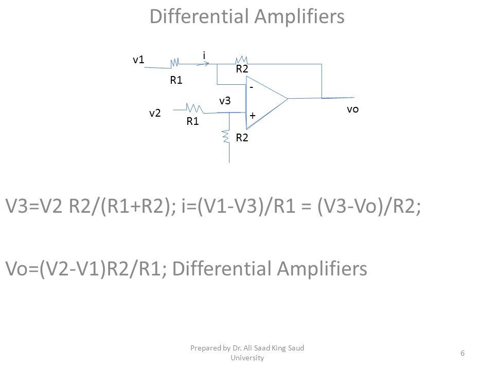 Differential Amplifiers V3=V2 R2/(R1+R2); i=(V1-V3)/R1 = (V3-Vo)/R2; Vo=(V2-V1)R2/R1; Differential Amplifiers v3 vo R1 R2 - + v1 v2 R1 R2 i 6 Prepared by Dr.
