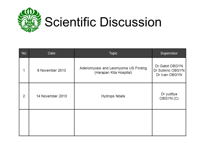 Scientific DiscussionNoDateTopicSupervisor 18 November 2013 Adenomyosis and Leiomyoma US Finding (Harapan Kita Hospital) Dr Gatot OBGYN Dr Sutikno OBG