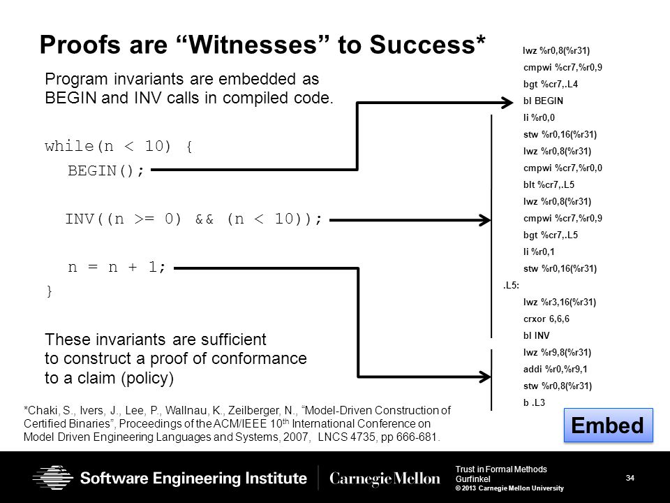 34 Trust in Formal Methods Gurfinkel © 2013 Carnegie Mellon University 34 Proofs are Witnesses to Success* Program invariants are embedded as BEGIN and INV calls in compiled code.