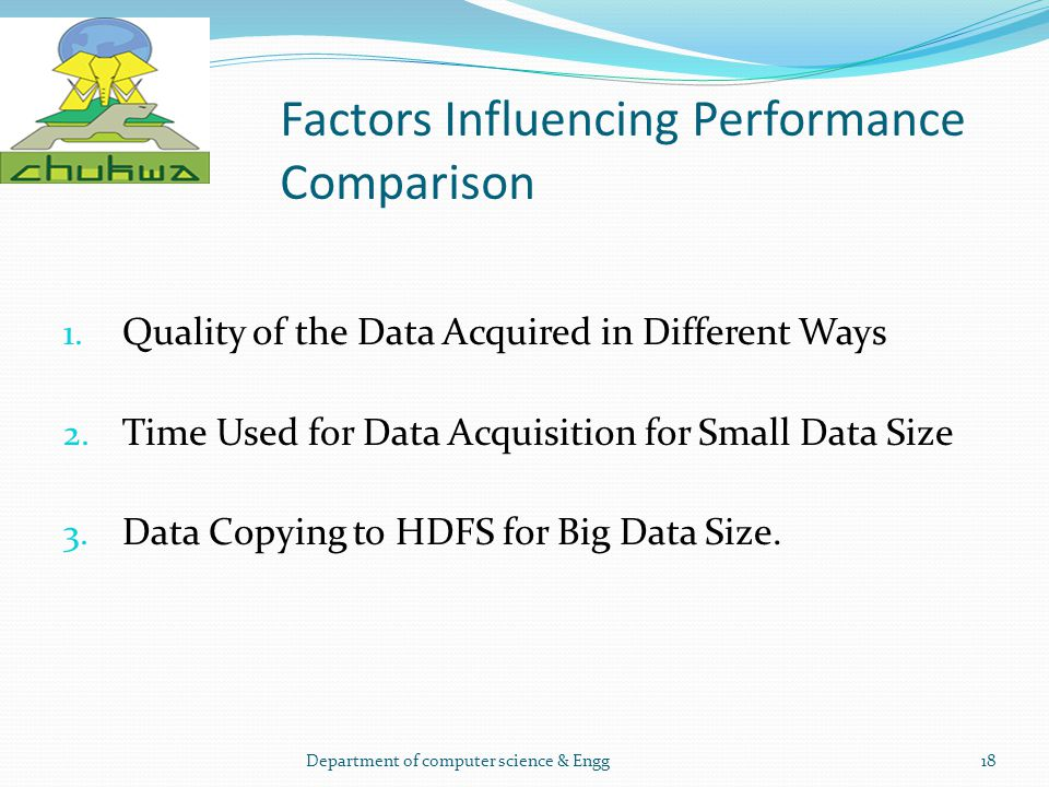 Factors Influencing Performance Comparison 1. Quality of the Data Acquired in Different Ways 2. Time Used for Data Acquisition for Small Data Size 3.