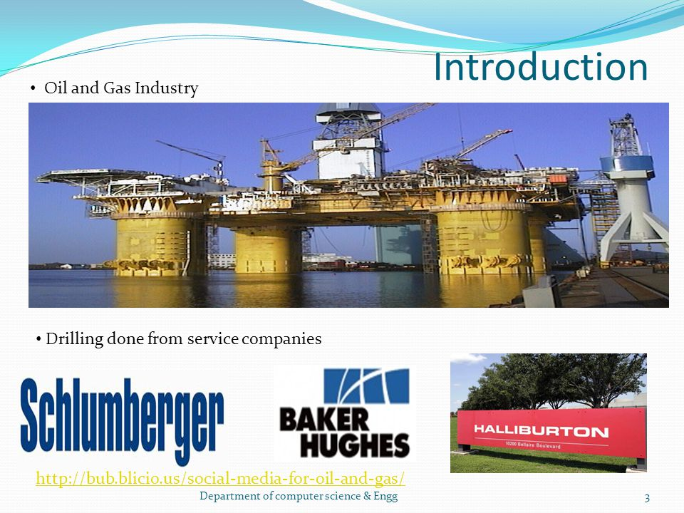 Introduction Oil and Gas Industry Drilling done from service companies 3Department of computer science & Engg http://bub.blicio.us/social-media-for-oi